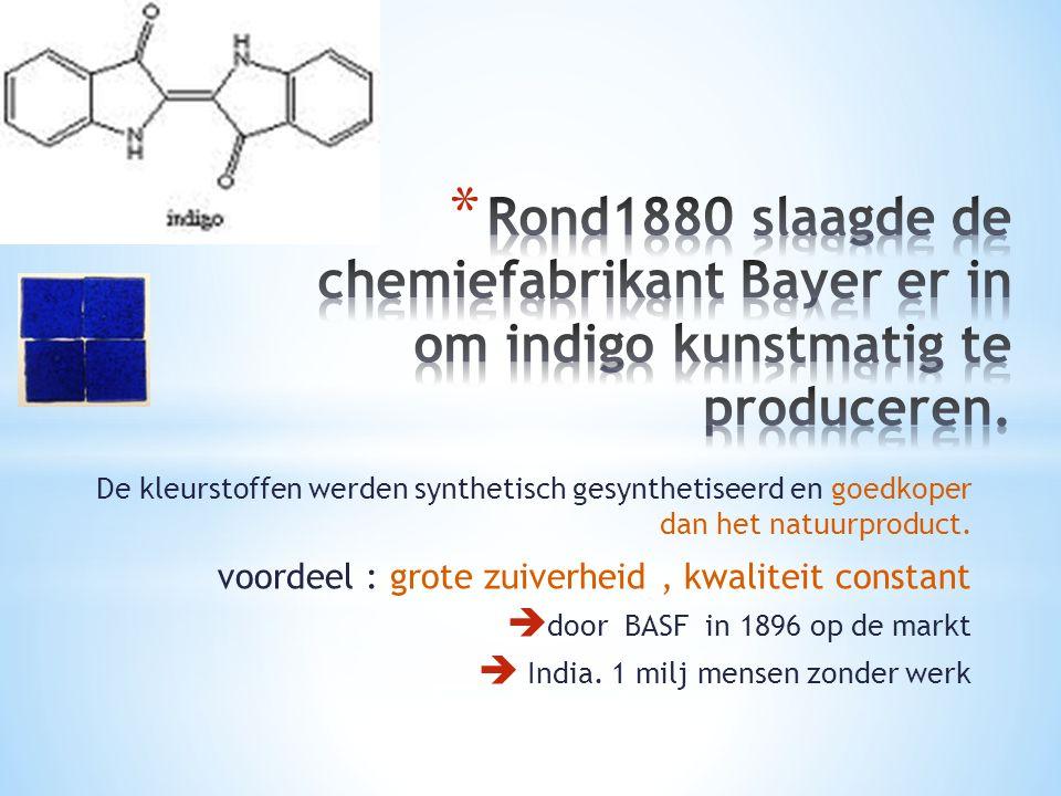 De kleurstoffen werden synthetisch gesynthetiseerd en goedkoper dan het natuurproduct. voordeel : grote zuiverheid, kwaliteit constant  door BASF in