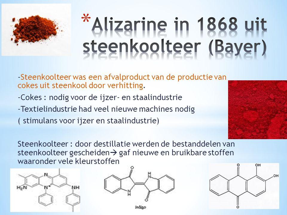 -Steenkoolteer was een afvalproduct van de productie van cokes uit steenkool door verhitting. -Cokes : nodig voor de ijzer- en staalindustrie -Textiel