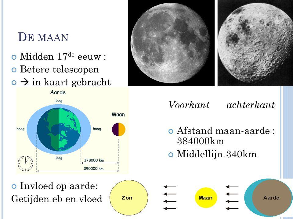 D E MAAN Midden 17 de eeuw : Betere telescopen  in kaart gebracht Invloed op aarde: Getijden eb en vloed Voorkant achterkant Afstand maan-aarde : 384