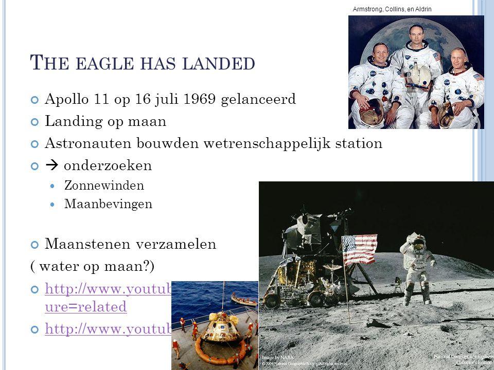 T HE EAGLE HAS LANDED Apollo 11 op 16 juli 1969 gelanceerd Landing op maan Astronauten bouwden wetrenschappelijk station  onderzoeken Zonnewinden Maa