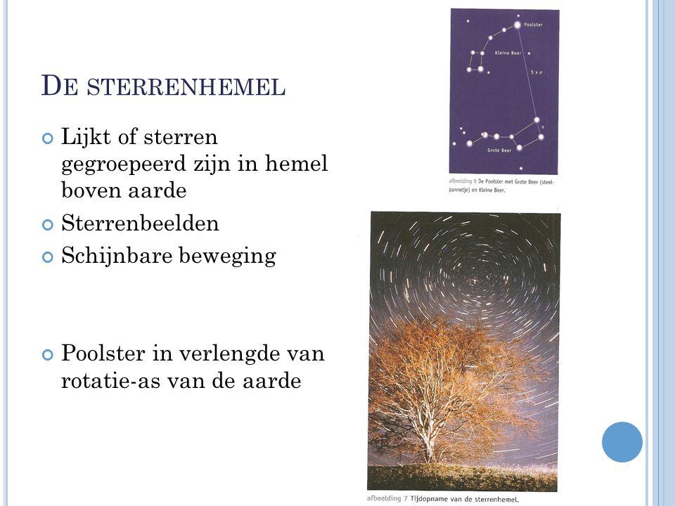 D E STERRENHEMEL Lijkt of sterren gegroepeerd zijn in hemel boven aarde Sterrenbeelden Schijnbare beweging Poolster in verlengde van rotatie-as van de