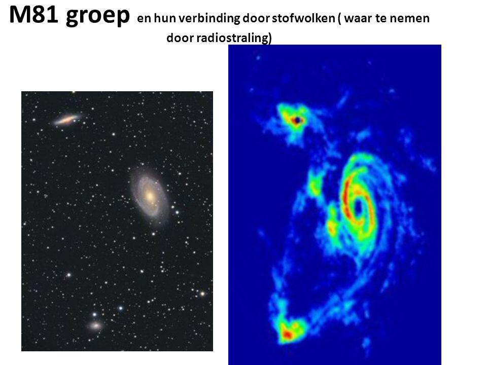 M81 groep en hun verbinding door stofwolken ( waar te nemen door radiostraling)