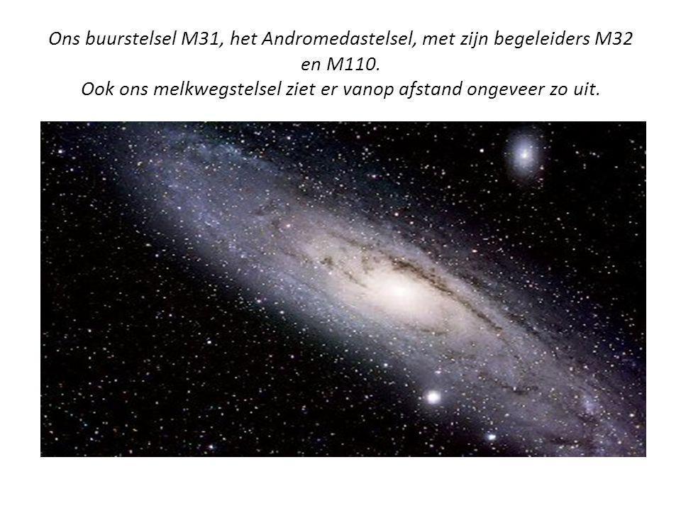 Ons buurstelsel M31, het Andromedastelsel, met zijn begeleiders M32 en M110. Ook ons melkwegstelsel ziet er vanop afstand ongeveer zo uit.