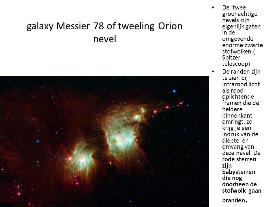 galaxy Messier 78 of tweeling Orion nevel De twee groenachtige nevels zijn eigenlijk gaten in de omgevende enorme zwarte stofwolken.( Spitzer telescoo