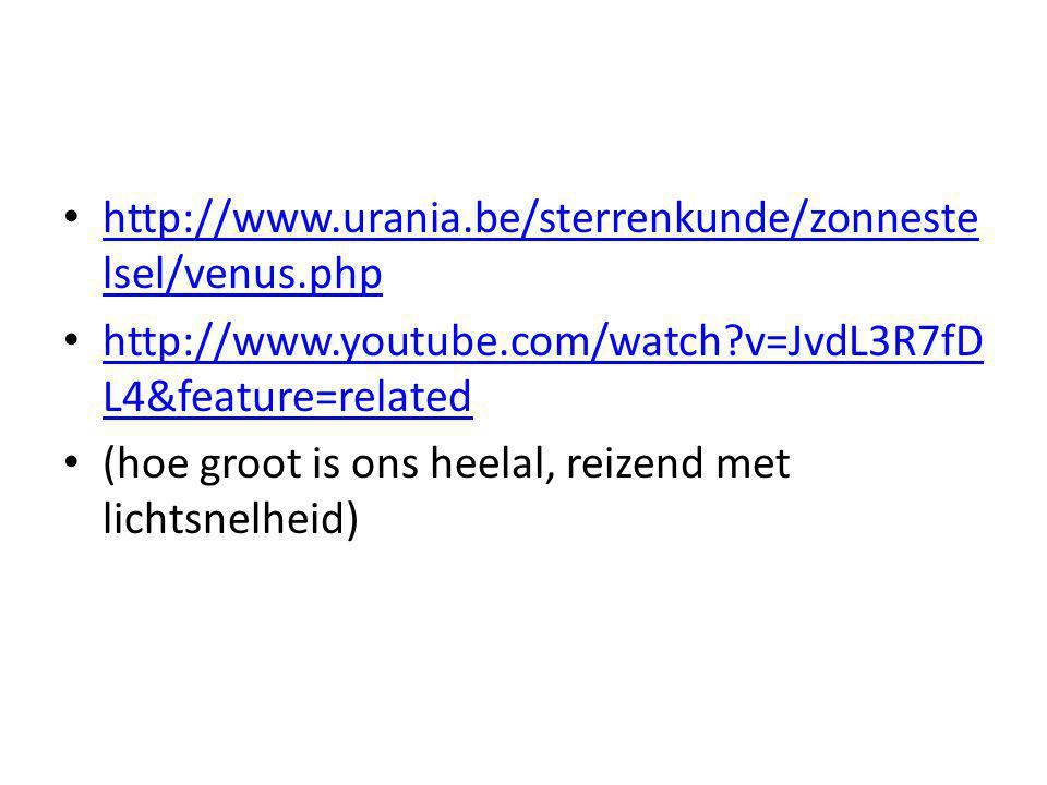 http://www.urania.be/sterrenkunde/zonneste lsel/venus.php http://www.urania.be/sterrenkunde/zonneste lsel/venus.php http://www.youtube.com/watch?v=JvdL3R7fD L4&feature=related http://www.youtube.com/watch?v=JvdL3R7fD L4&feature=related (hoe groot is ons heelal, reizend met lichtsnelheid)