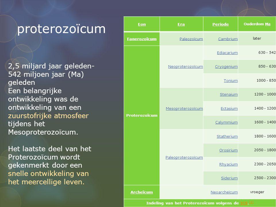 proterozoïcum EonEraPeriode Ouderdom Ma FanerozoïcumPaleozoïcumCambrium later Proterozoïcum Neoproterozoïcum Ediacarium 630 - 542 Cryogenium 850 - 630