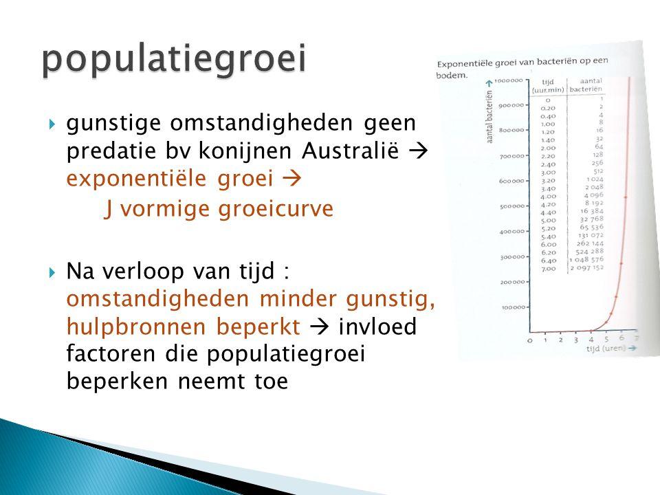  gunstige omstandigheden geen predatie bv konijnen Australië  exponentiële groei  J vormige groeicurve  Na verloop van tijd : omstandigheden minde