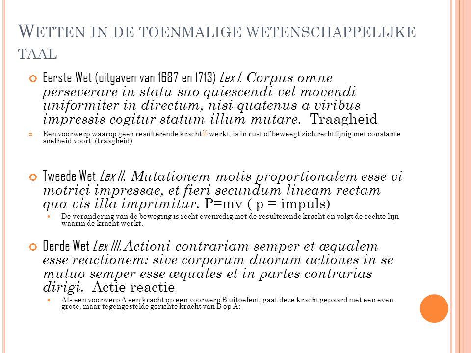 W ETTEN IN DE TOENMALIGE WETENSCHAPPELIJKE TAAL Eerste Wet (uitgaven van 1687 en 1713) Lex I. Corpus omne perseverare in statu suo quiescendi vel move