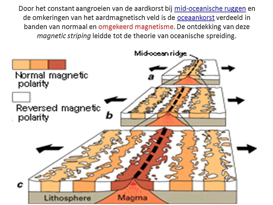 Door het constant aangroeien van de aardkorst bij mid-oceanische ruggen en de omkeringen van het aardmagnetisch veld is de oceaankorst verdeeld in ban