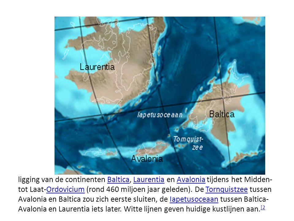 ligging van de continenten Baltica, Laurentia en Avalonia tijdens het Midden- tot Laat-Ordovicium (rond 460 miljoen jaar geleden). De Tornquistzee tus