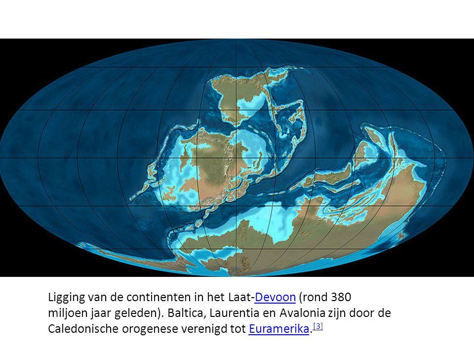 Ligging van de continenten in het Laat-Devoon (rond 380 miljoen jaar geleden). Baltica, Laurentia en Avalonia zijn door de Caledonische orogenese vere