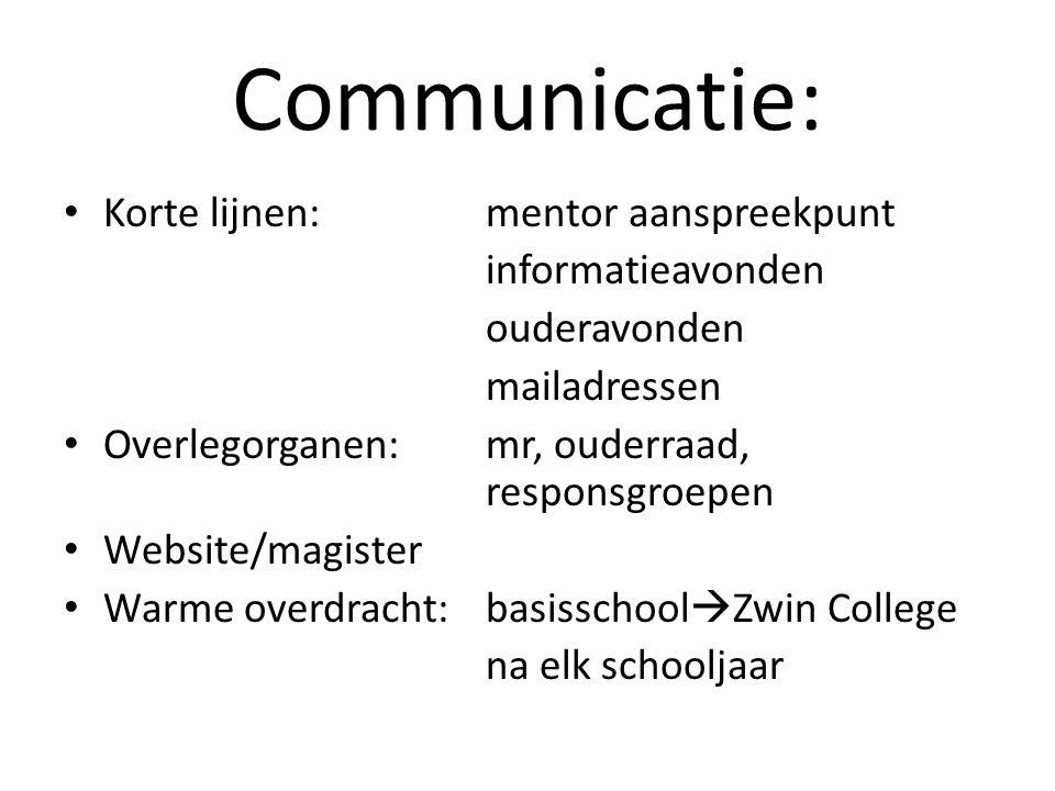 Communicatie: Korte lijnen: mentor aanspreekpunt informatieavonden ouderavonden mailadressen Overlegorganen:mr, ouderraad, responsgroepen Website/magi
