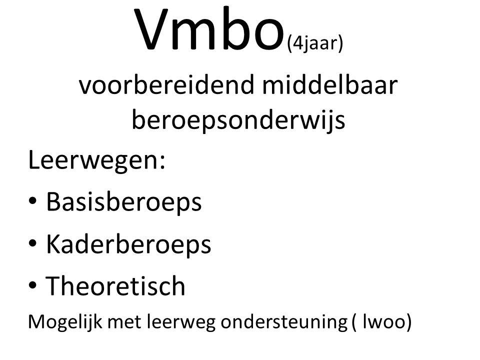 Vmbo (4jaar) voorbereidend middelbaar beroepsonderwijs Leerwegen: Basisberoeps Kaderberoeps Theoretisch Mogelijk met leerweg ondersteuning ( lwoo)