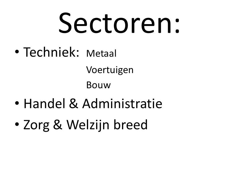 Sectoren: Techniek: Metaal Voertuigen Bouw Handel & Administratie Zorg & Welzijn breed