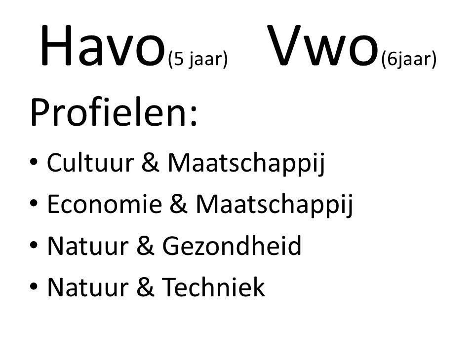 Havo (5 jaar) Vwo (6jaar) Profielen: Cultuur & Maatschappij Economie & Maatschappij Natuur & Gezondheid Natuur & Techniek