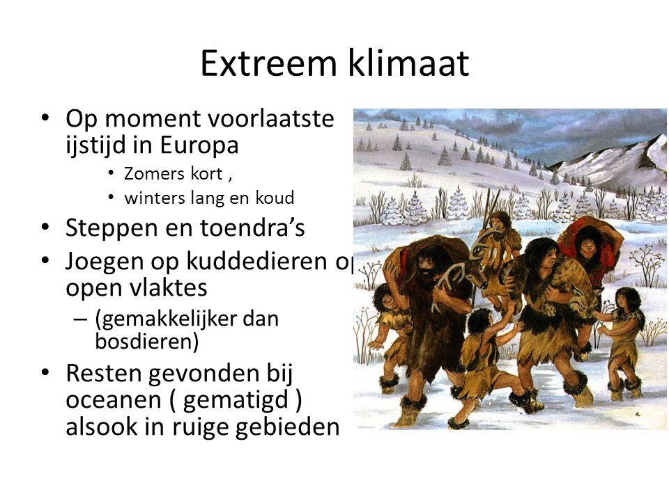 Extreem klimaat Op moment voorlaatste ijstijd in Europa Zomers kort, winters lang en koud Steppen en toendra's Joegen op kuddedieren op open vlaktes –