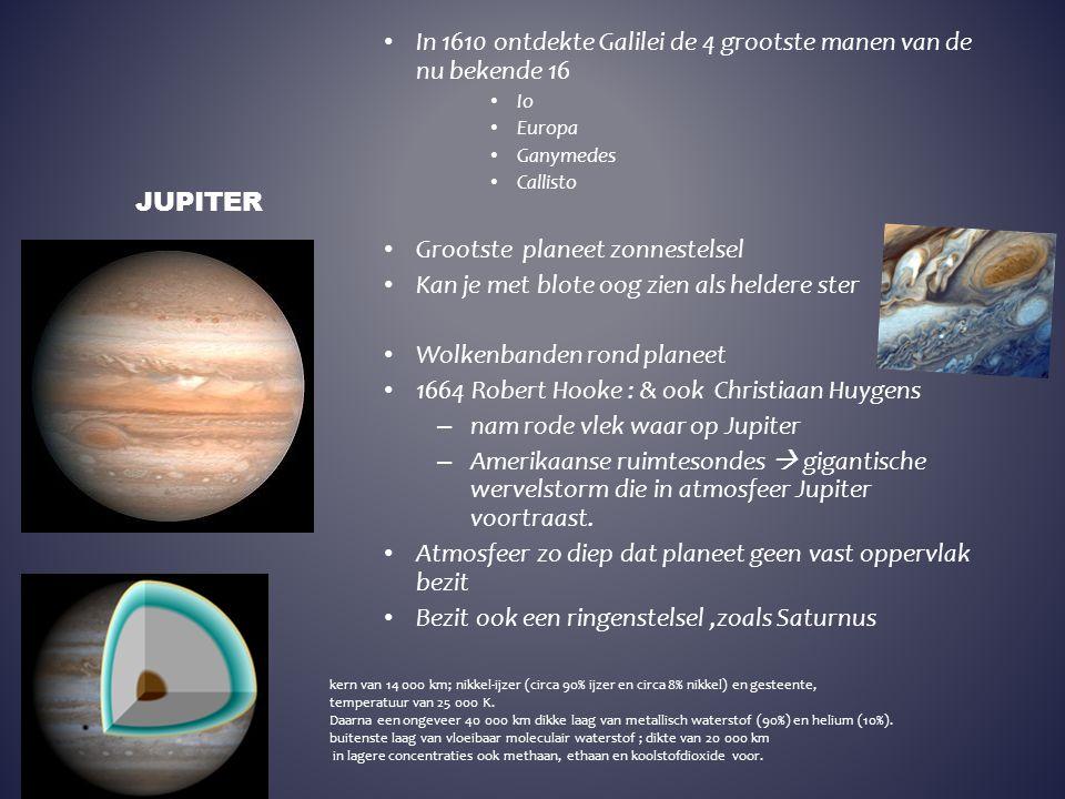 In 1610 ontdekte Galilei de 4 grootste manen van de nu bekende 16 Io Europa Ganymedes Callisto Grootste planeet zonnestelsel Kan je met blote oog zien