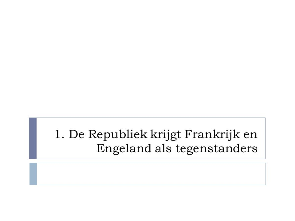 1. De Republiek krijgt Frankrijk en Engeland als tegenstanders