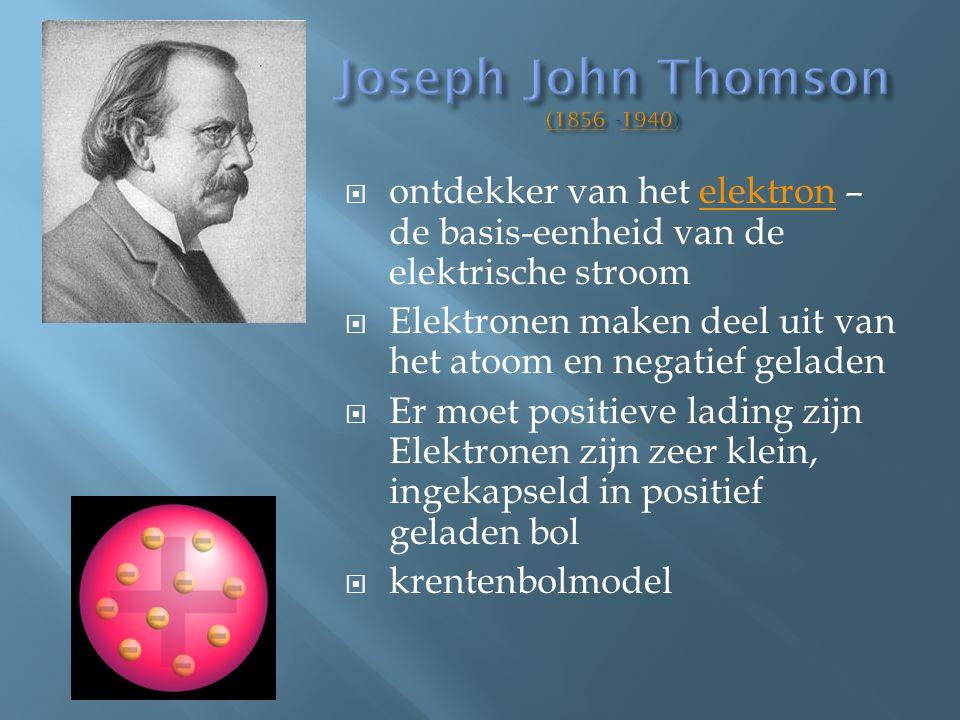  ontdekker van het elektron – de basis-eenheid van de elektrische stroomelektron  Elektronen maken deel uit van het atoom en negatief geladen  Er m