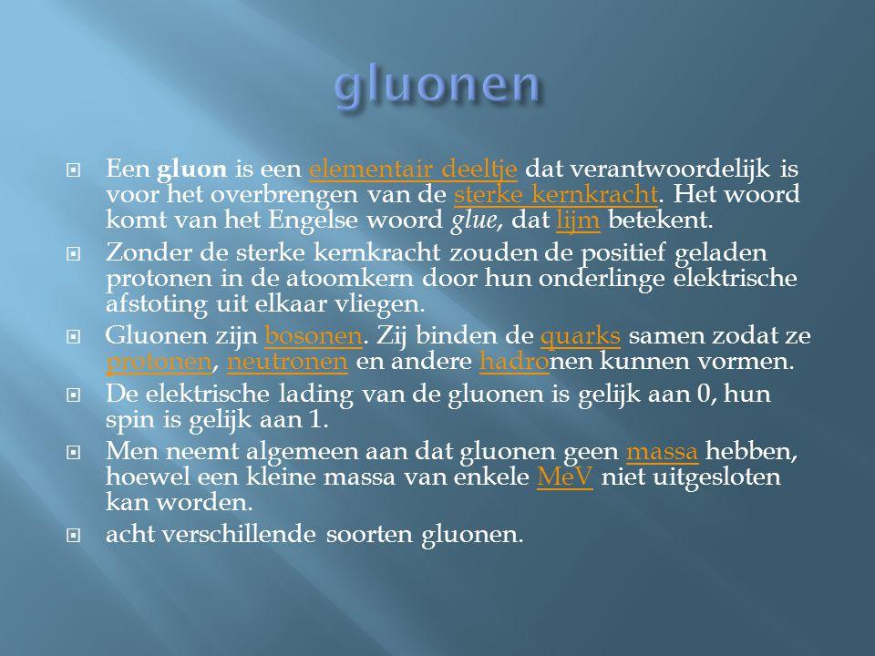  Een gluon is een elementair deeltje dat verantwoordelijk is voor het overbrengen van de sterke kernkracht. Het woord komt van het Engelse woord glue