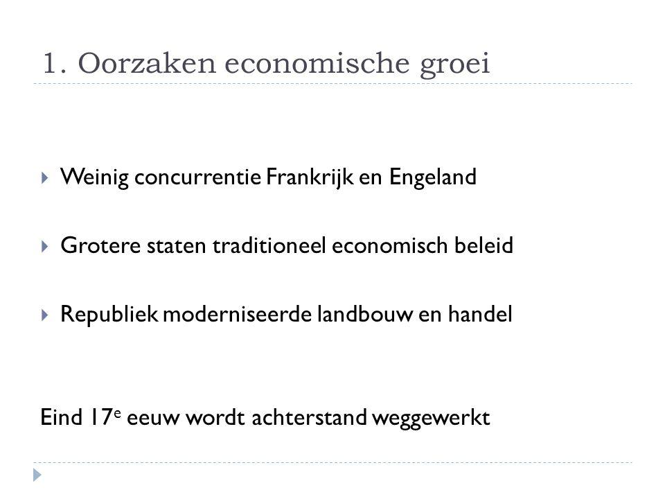 1. Oorzaken economische groei  Weinig concurrentie Frankrijk en Engeland  Grotere staten traditioneel economisch beleid  Republiek moderniseerde la