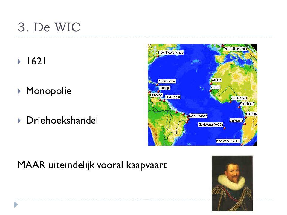 3. De WIC  1621  Monopolie  Driehoekshandel MAAR uiteindelijk vooral kaapvaart