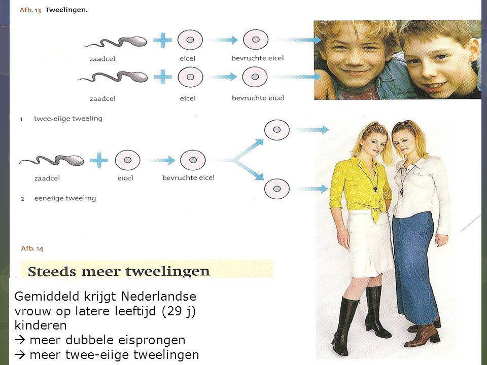 Gemiddeld krijgt Nederlandse vrouw op latere leeftijd (29 j) kinderen  meer dubbele eisprongen  meer twee-eiige tweelingen