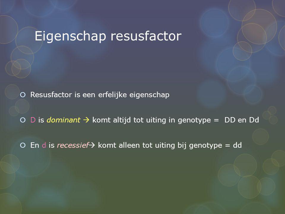 Eigenschap resusfactor  Resusfactor is een erfelijke eigenschap  D is dominant  komt altijd tot uiting in genotype = DD en Dd  En d is recessief 