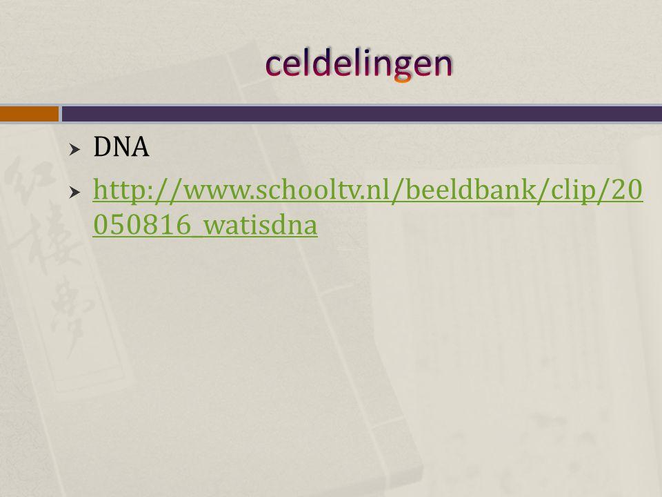  DNA  http://www.schooltv.nl/beeldbank/clip/20 050816_watisdna http://www.schooltv.nl/beeldbank/clip/20 050816_watisdna