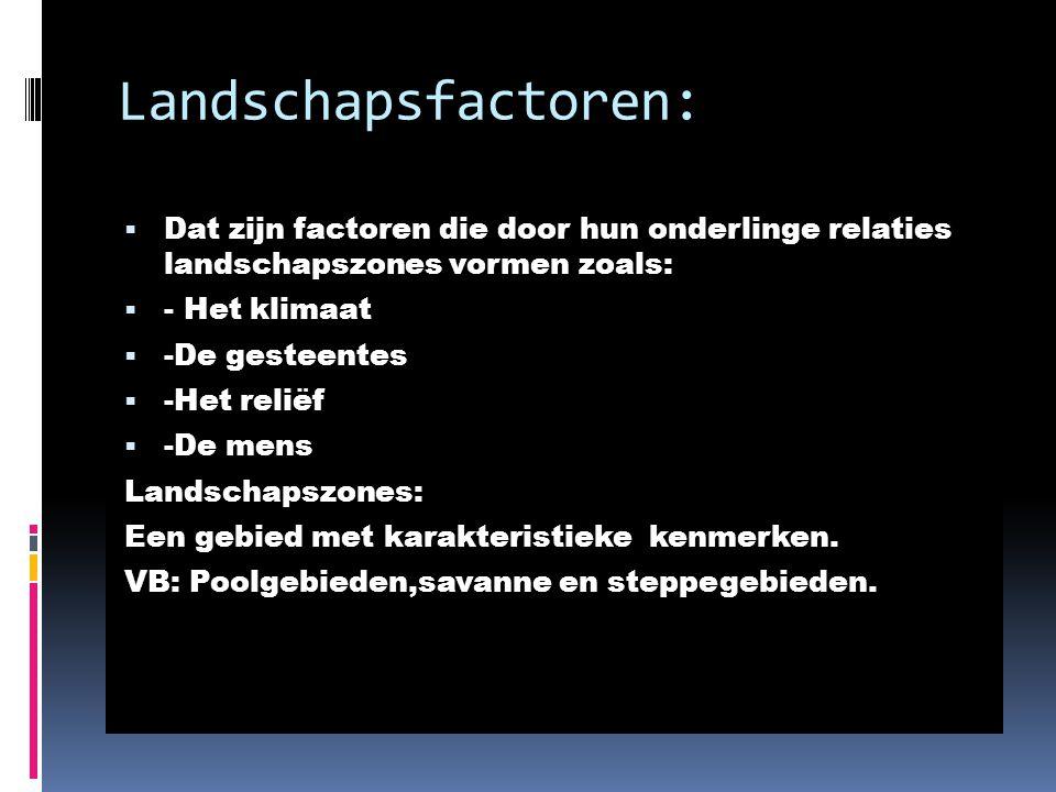 Landschapsfactoren:  Dat zijn factoren die door hun onderlinge relaties landschapszones vormen zoals:  - Het klimaat  -De gesteentes  -Het reliëf  -De mens Landschapszones: Een gebied met karakteristieke kenmerken.