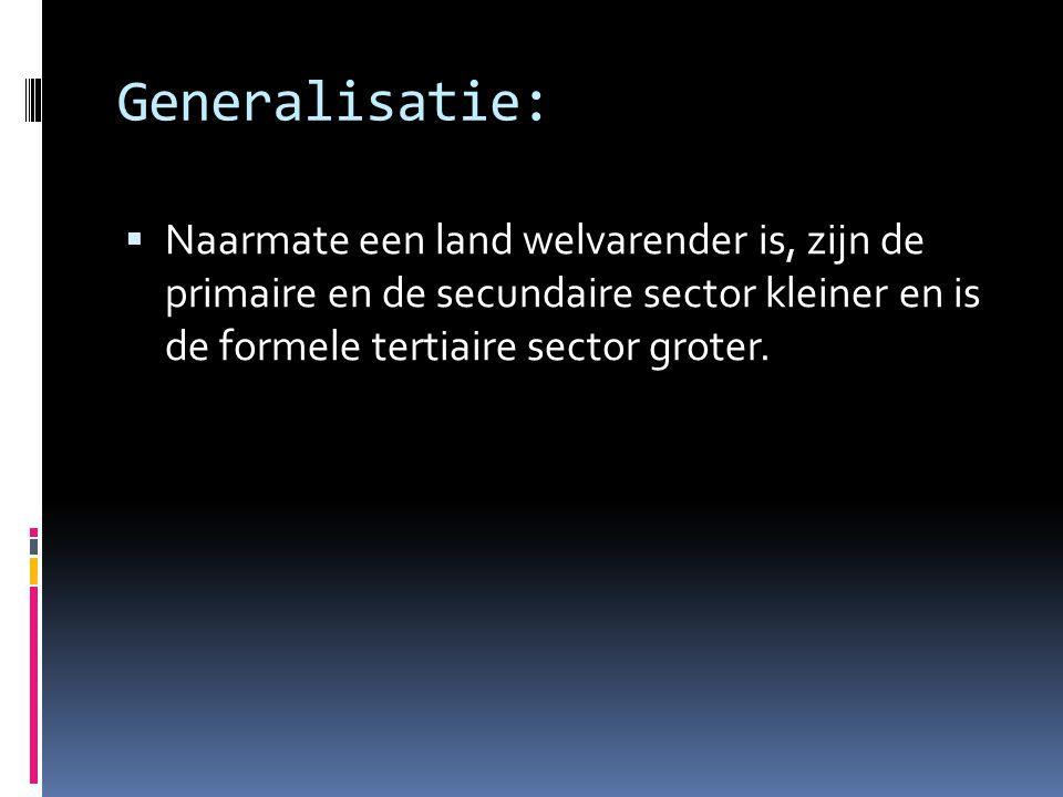 Generalisatie:  Naarmate een land welvarender is, zijn de primaire en de secundaire sector kleiner en is de formele tertiaire sector groter.
