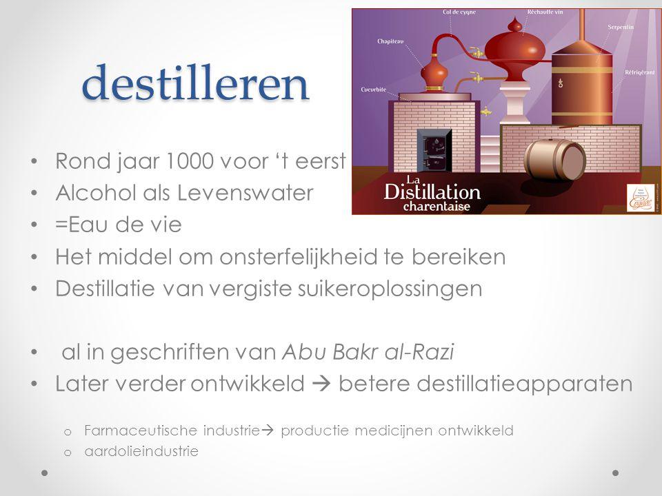 destilleren Rond jaar 1000 voor 't eerst Alcohol als Levenswater =Eau de vie Het middel om onsterfelijkheid te bereiken Destillatie van vergiste suike