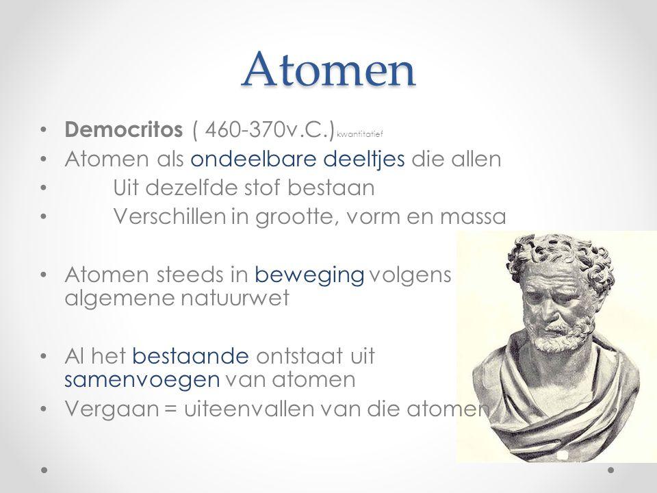 Atomen Democritos ( 460-370v.C.) kwantitatief Atomen als ondeelbare deeltjes die allen Uit dezelfde stof bestaan Verschillen in grootte, vorm en massa