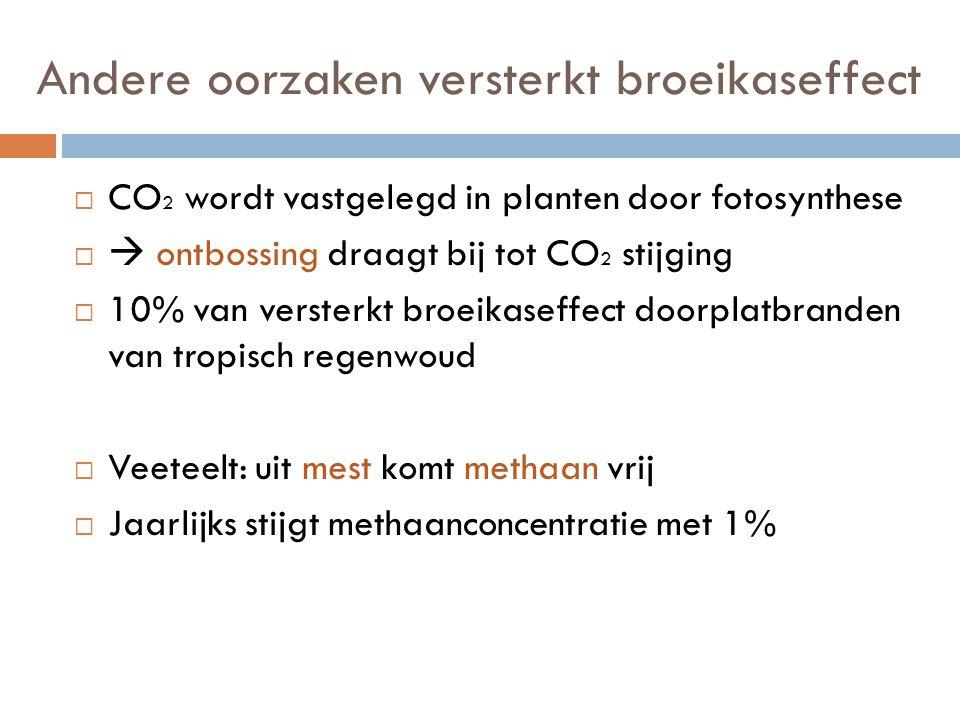 Andere oorzaken versterkt broeikaseffect  CO 2 wordt vastgelegd in planten door fotosynthese   ontbossing draagt bij tot CO 2 stijging  10% van versterkt broeikaseffect doorplatbranden van tropisch regenwoud  Veeteelt: uit mest komt methaan vrij  Jaarlijks stijgt methaanconcentratie met 1%