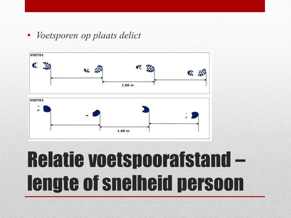 Relatie voetspoorafstand – lengte of snelheid persoon Voetsporen op plaats delict