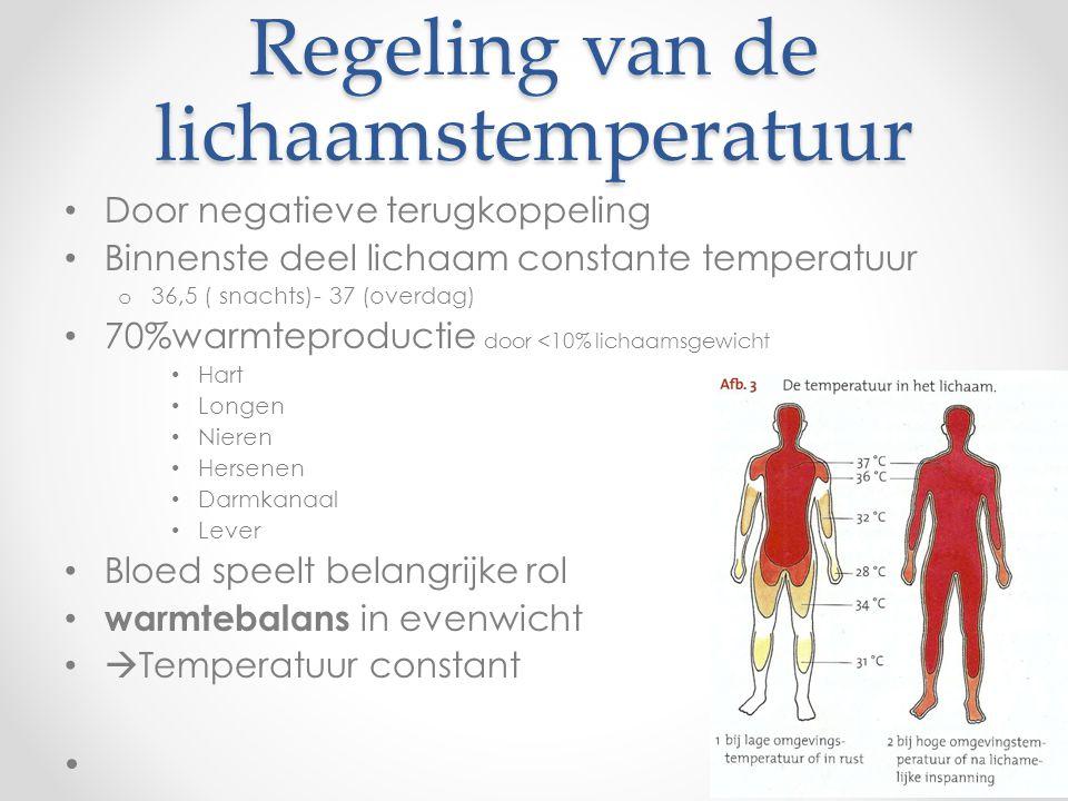 Sensor = warmte- en koudezintuigen of receptoren in hypothalamus Boodschapperstof = hormonen
