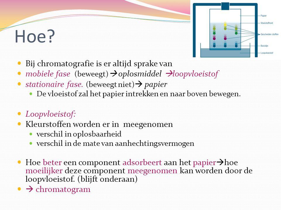 Hoe? Bij chromatografie is er altijd sprake van mobiele fase (beweegt)  oplosmiddel  loopvloeistof stationaire fase. (beweegt niet)  papier De vloe