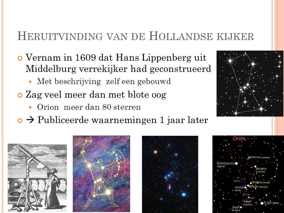 H ERUITVINDING VAN DE H OLLANDSE KIJKER Vernam in 1609 dat Hans Lippenberg uit Middelburg verrekijker had geconstrueerd Met beschrijving zelf een gebo