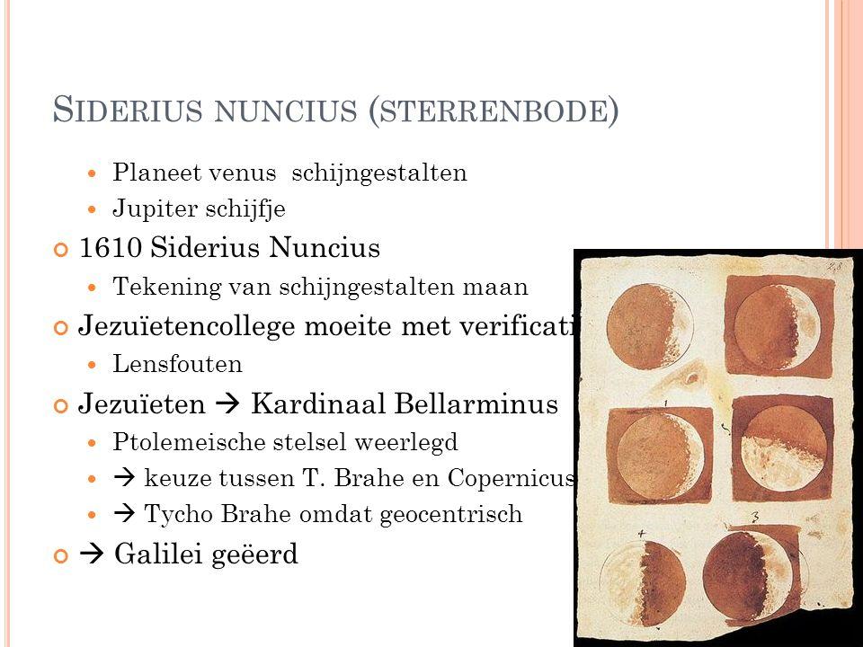 REACTIE Aanhangers van Ptolemaeus verzetten zich tegen Galilei's ideeën Reden: bedreiging voor hun reputatie  Galilei goede spreek- en schrijfvaardigheid en bespotte tegenstanders  maakte vijanden  Vermaning om van dergelijke ketterijen te onthouden  9 j later : Dialogo Salviati ( Copernicus) Sagredi (leek ; bereid tot overtuigd worden ) en Simplicio (=Paus; Ptolemaeus, argumenten van de kerk)