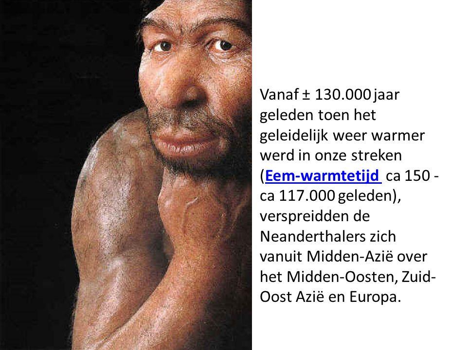 Vanaf ± 130.000 jaar geleden toen het geleidelijk weer warmer werd in onze streken (Eem-warmtetijd ca 150 - ca 117.000 geleden), verspreidden de Neand