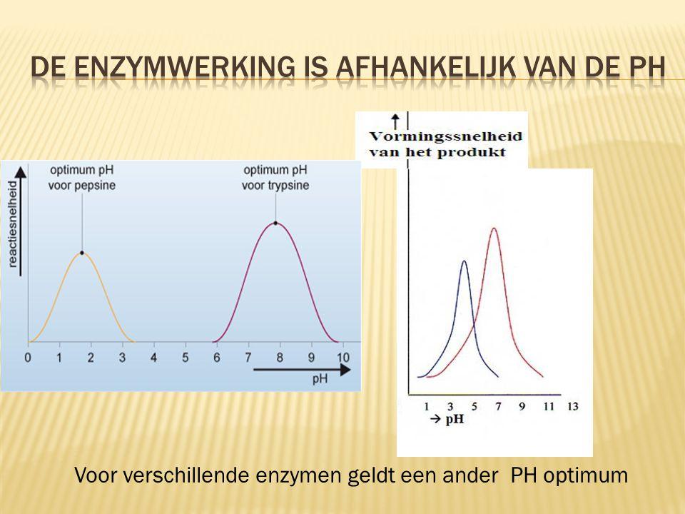 Voor verschillende enzymen geldt een ander PH optimum