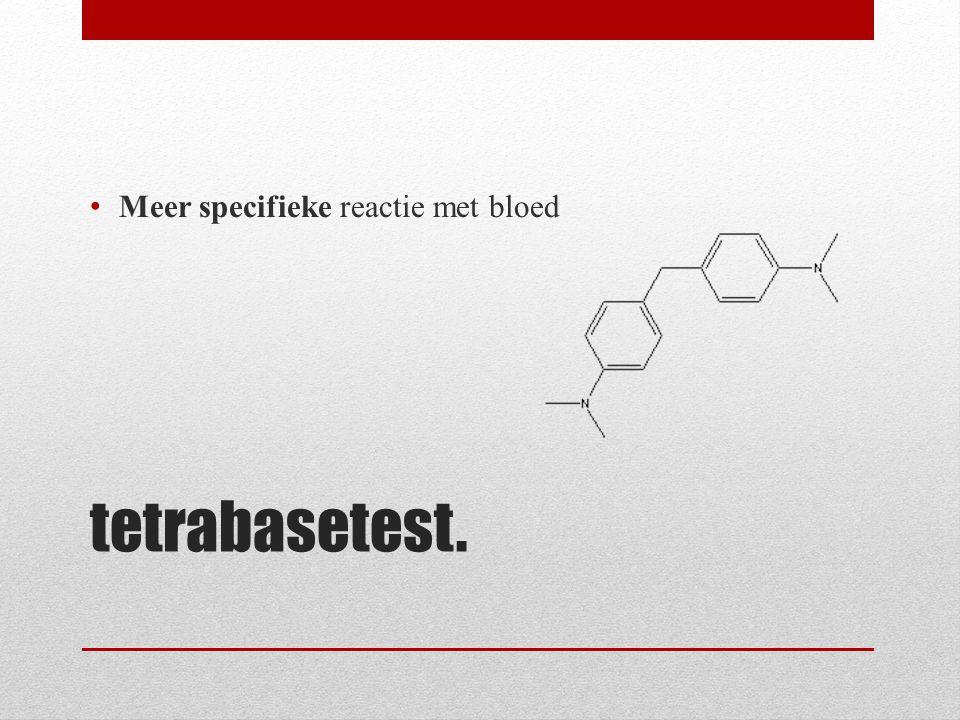 tetrabasetest. Meer specifieke reactie met bloed