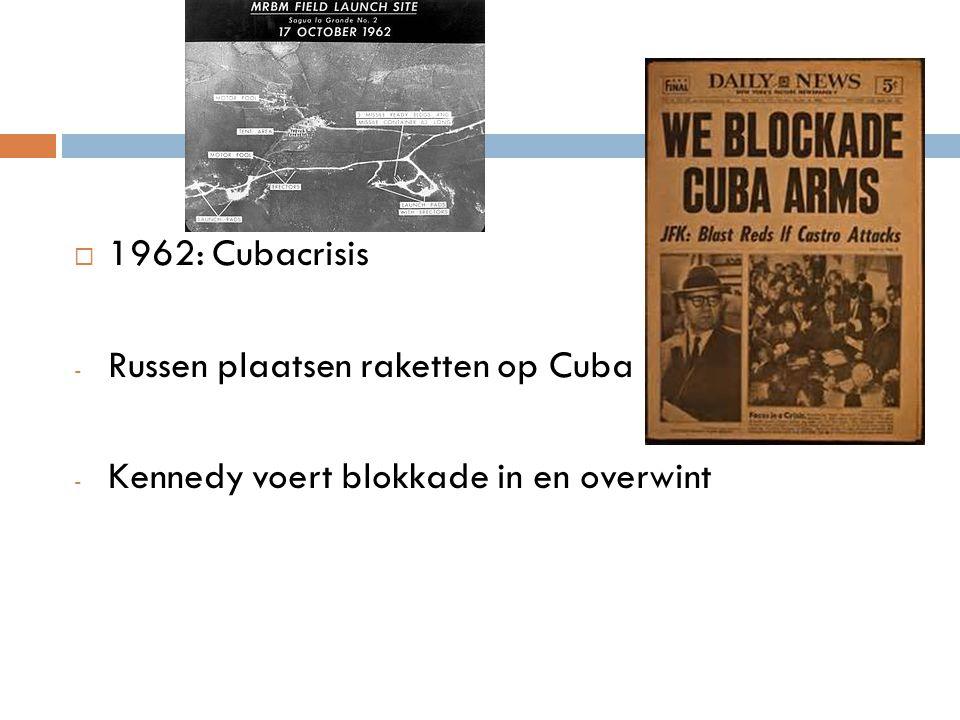  1962: Cubacrisis - Russen plaatsen raketten op Cuba - Kennedy voert blokkade in en overwint