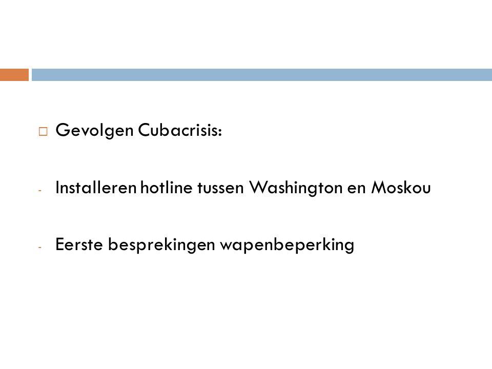  Gevolgen Cubacrisis: - Installeren hotline tussen Washington en Moskou - Eerste besprekingen wapenbeperking