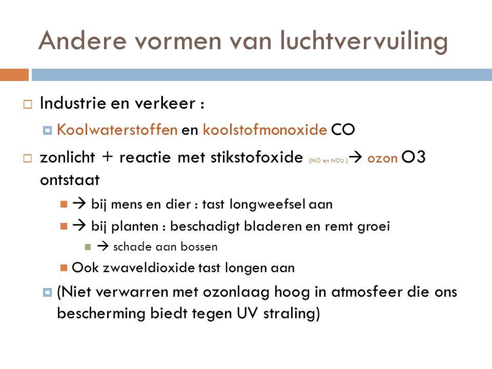 Andere vormen van luchtvervuiling  Industrie en verkeer :  Koolwaterstoffen en koolstofmonoxide CO  zonlicht + reactie met stikstofoxide (NO en NO