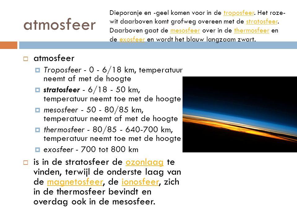 atmosfeer  atmosfeer  Troposfeer - 0 - 6/18 km, temperatuur neemt af met de hoogte  stratosfeer - 6/18 - 50 km, temperatuur neemt toe met de hoogte  mesosfeer - 50 - 80/85 km, temperatuur neemt af met de hoogte  thermosfeer - 80/85 - 640-700 km, temperatuur neemt toe met de hoogte  exosfeer - 700 tot 800 km  is in de stratosfeer de ozonlaag te vinden, terwijl de onderste laag van de magnetosfeer, de ionosfeer, zich in de thermosfeer bevindt en overdag ook in de mesosfeer.ozonlaagmagnetosfeerionosfeer Dieporanje en -geel komen voor in de troposfeer.