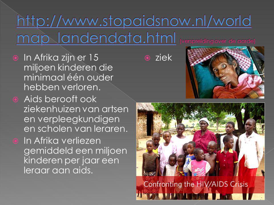  In Afrika zijn er 15 miljoen kinderen die minimaal één ouder hebben verloren.  Aids berooft ook ziekenhuizen van artsen en verpleegkundigen en scho