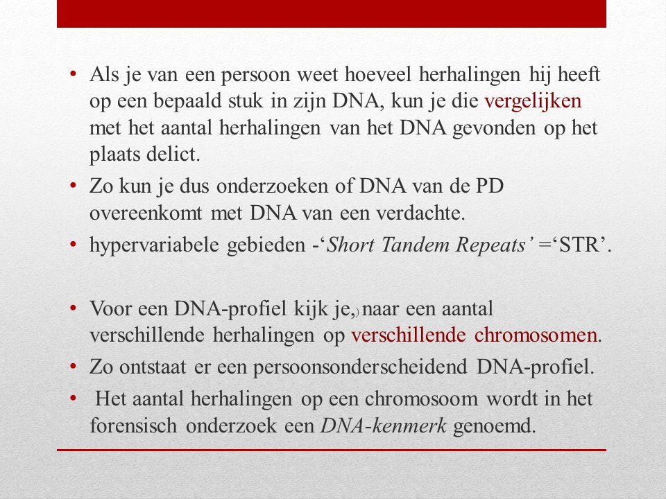 Als je van een persoon weet hoeveel herhalingen hij heeft op een bepaald stuk in zijn DNA, kun je die vergelijken met het aantal herhalingen van het D