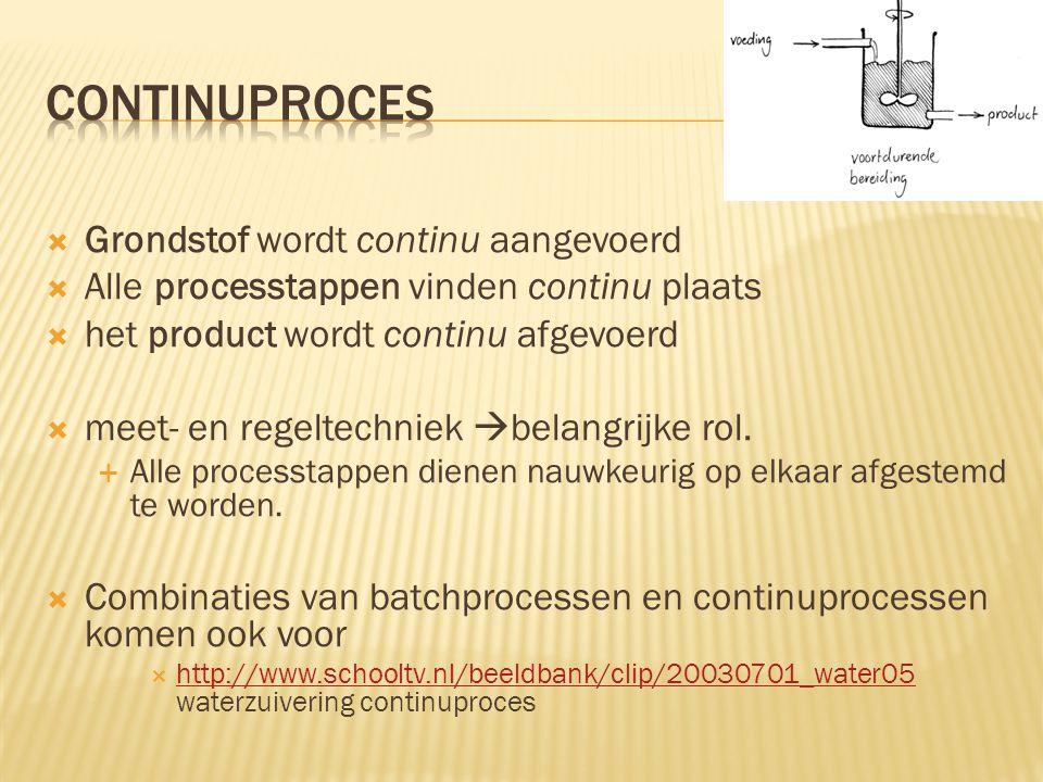 Grondstof wordt continu aangevoerd  Alle processtappen vinden continu plaats  het product wordt continu afgevoerd  meet- en regeltechniek  belangrijke rol.
