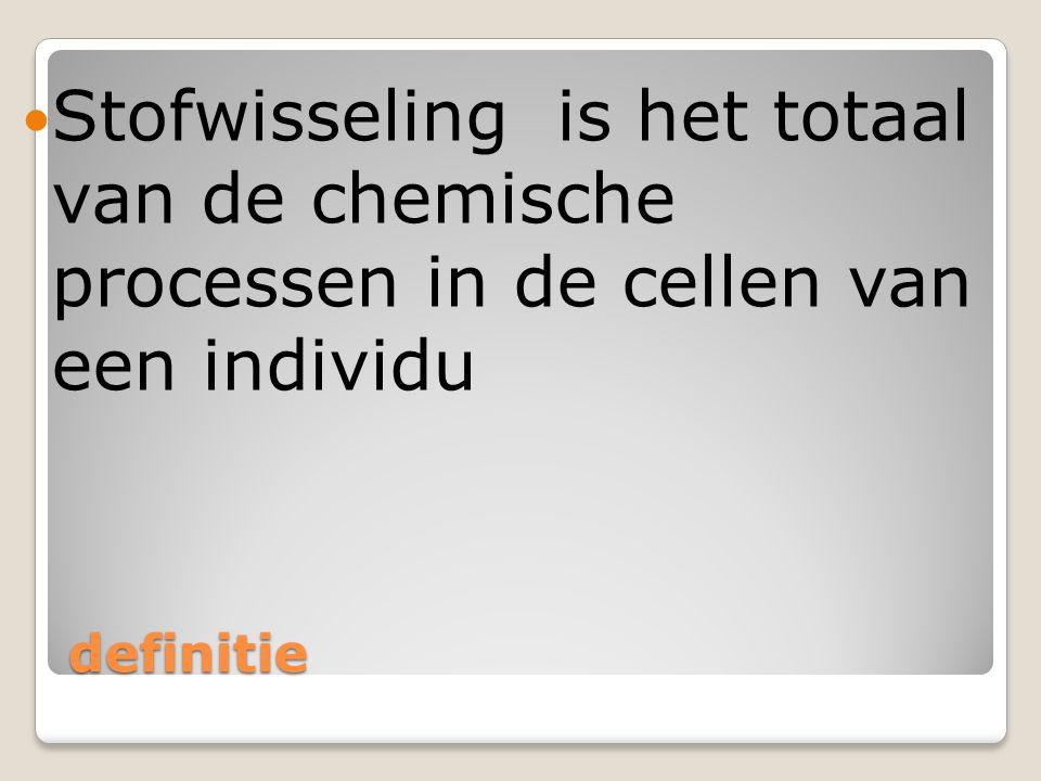 definitie Stofwisseling is het totaal van de chemische processen in de cellen van een individu